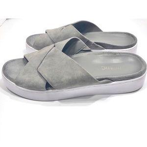 Vionic Suede Platform Slide Sandals